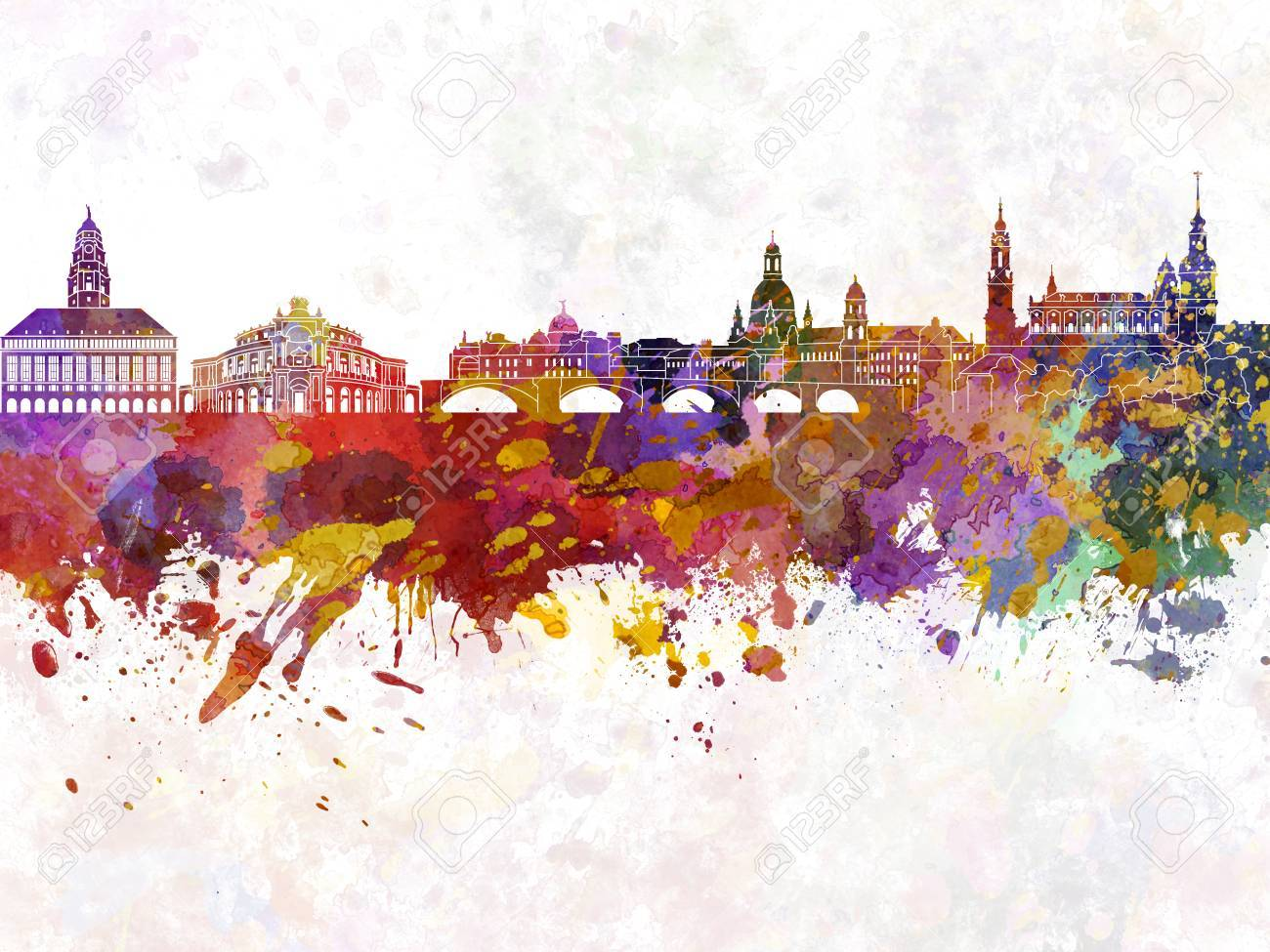 Ansprechend Skyline Dresden Galerie Von In Watercolor Background Stock Photo - 51520022