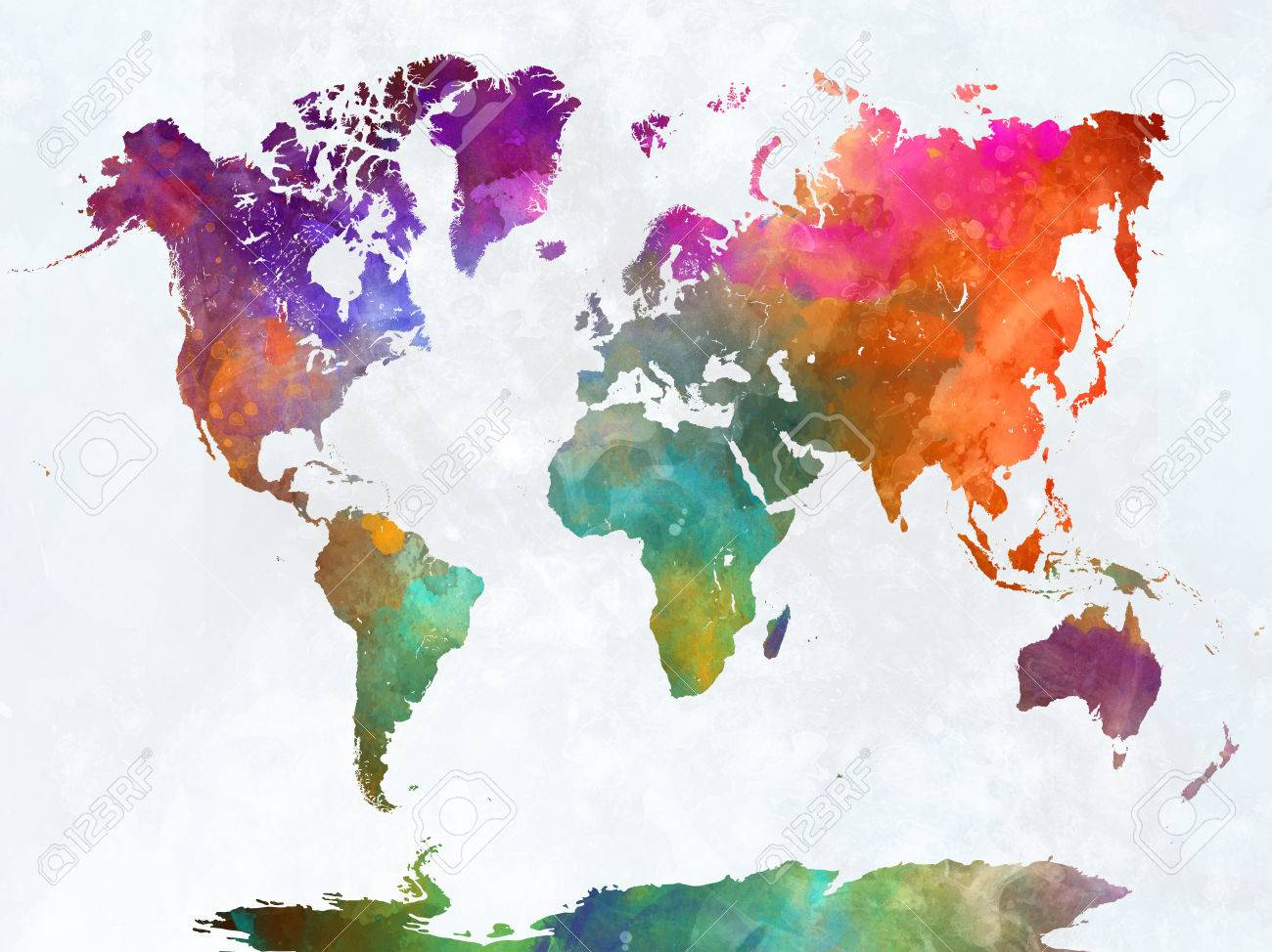 World Map Painting World Map In Watercolor Painting Abstract Splatters Stock Photo