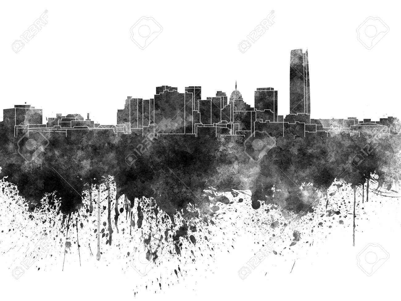 Oklahoma city skyline in black watercolor stock photo 68869078
