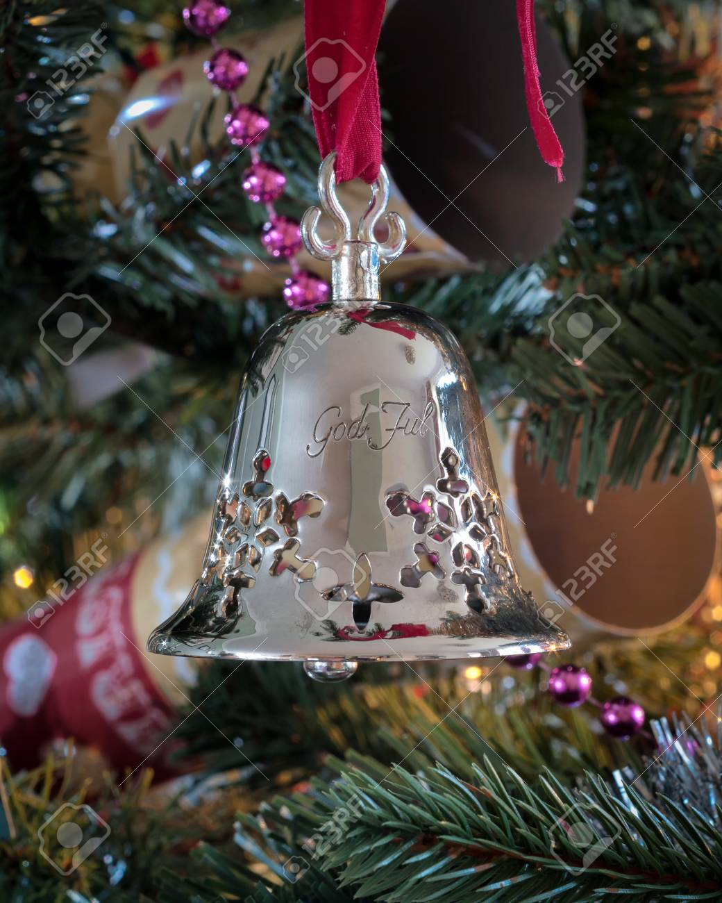 Tradition Christmas Decorations Silver Bell From Norway