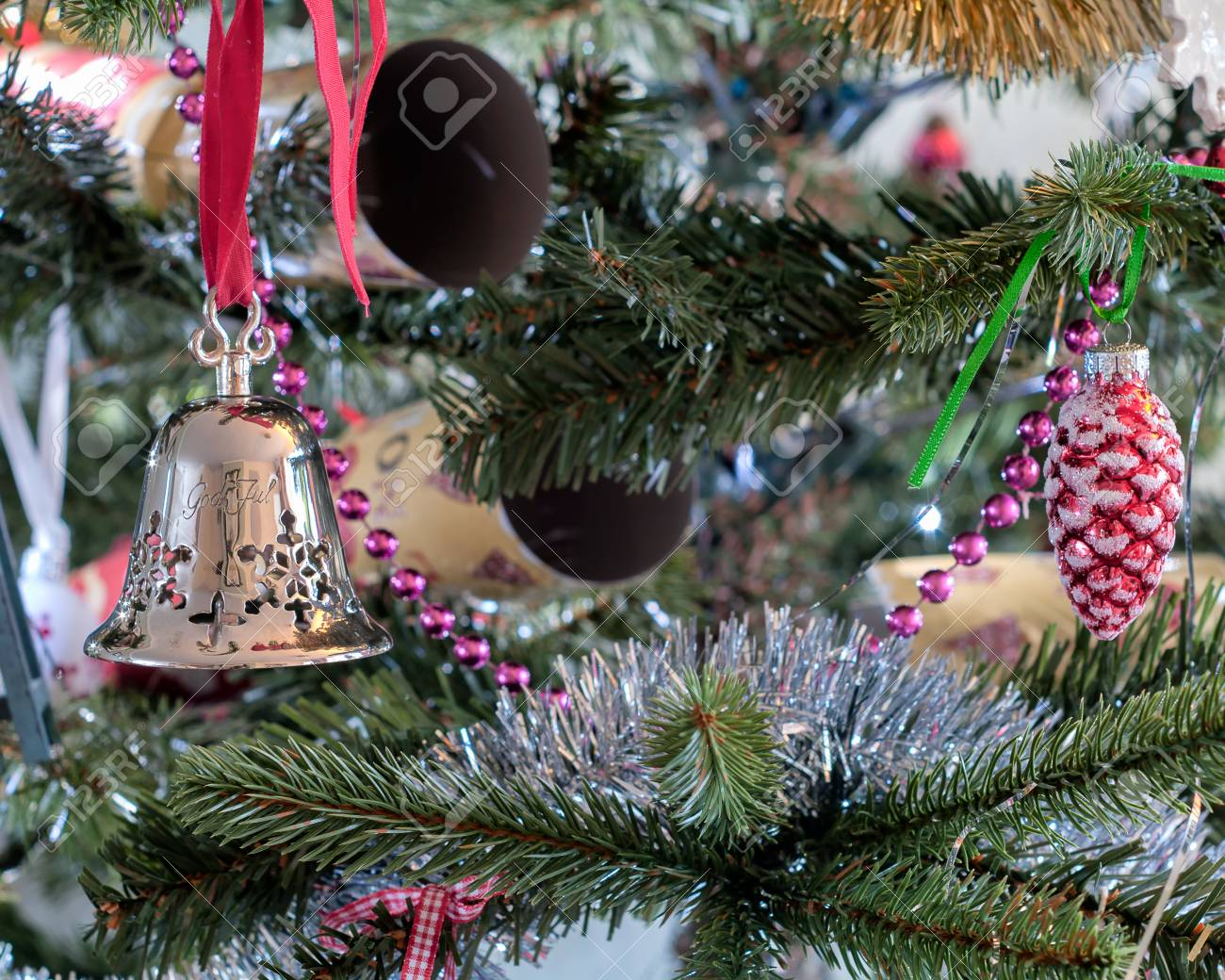 Tradition Christmas Tree Decorations - Silver Bell From Norway Stock ...