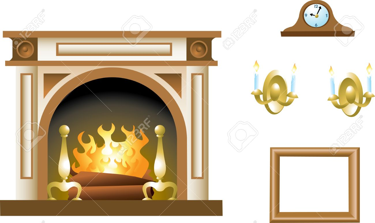 a fireplace mantel and related props royalty free cliparts