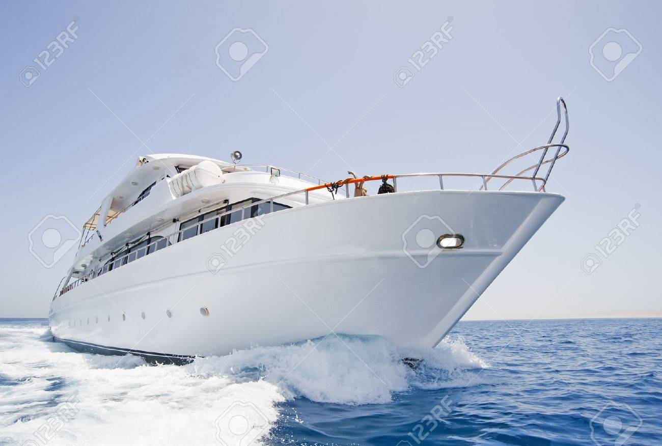 A large private motor yacht under way out at sea Stock Photo - 7312014