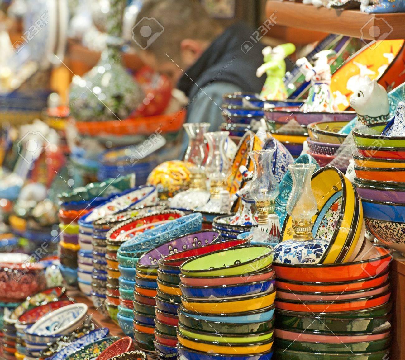 Dekoriert Osmanischen Stil Keramik Tellern Und Schalen In Einen