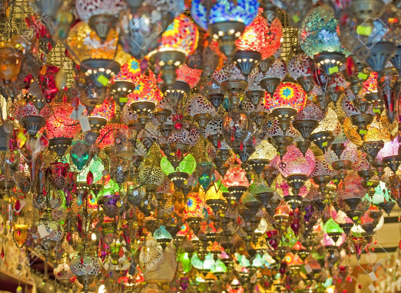 Ornate glass lights hanging in market stall at a souk Stock Photo - 9169134