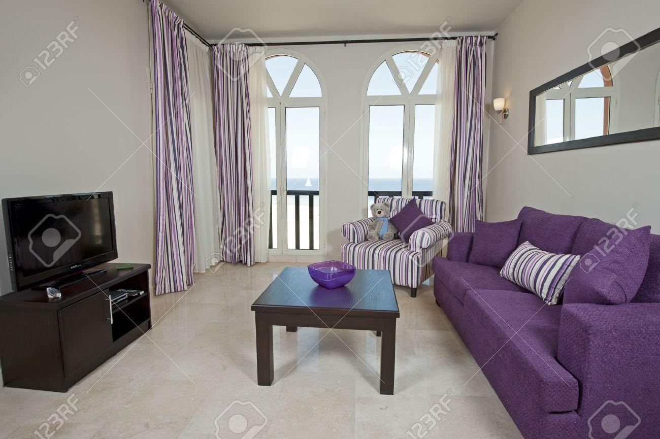 Interior Design Purple Living Room Interior Design Of A Luxury Apartment Living Room With A Sea