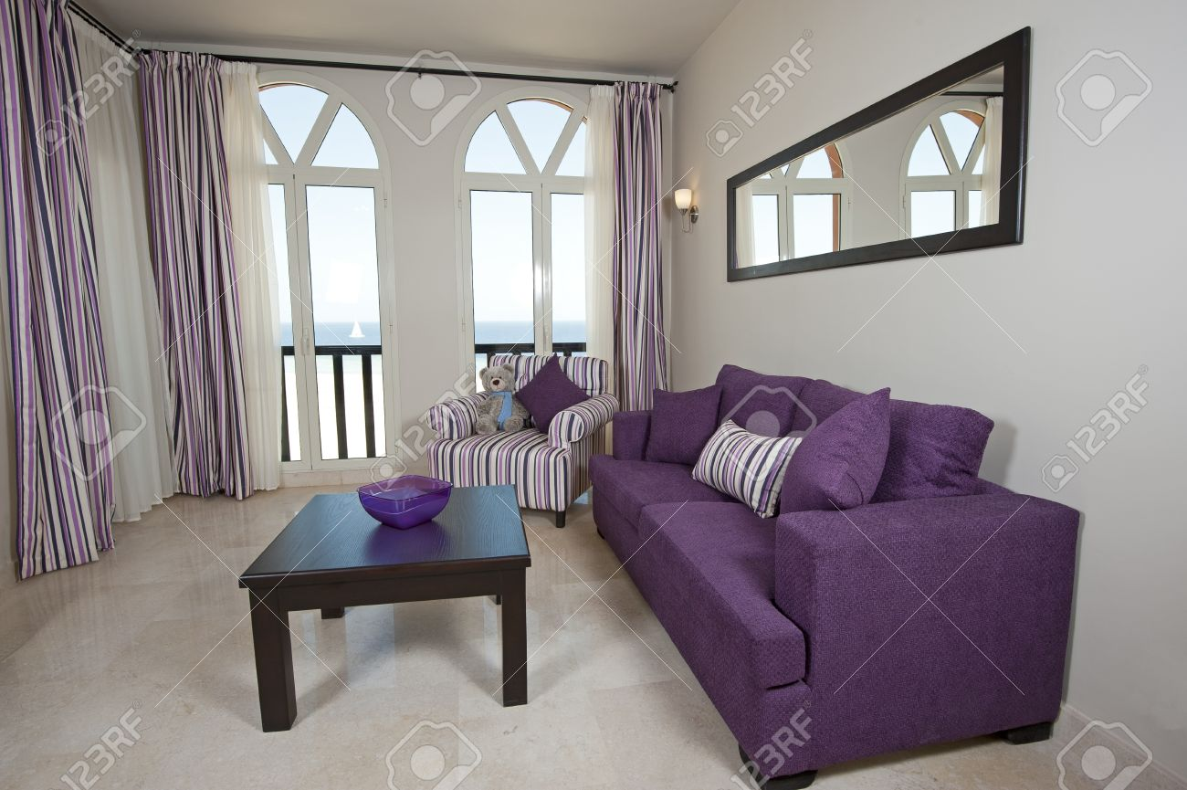 Interior design of a luxury apartment living room with a sea view Stock Photo - 12647406