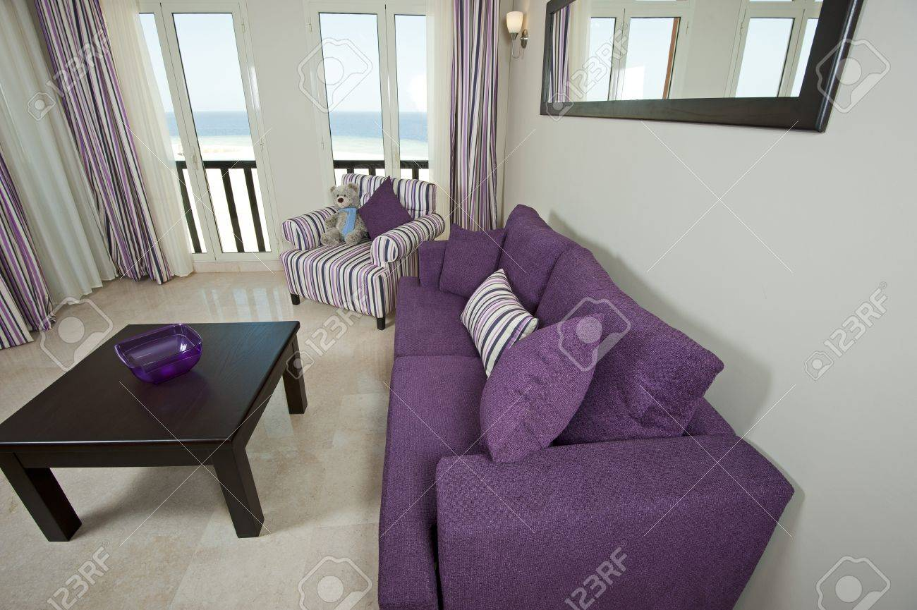 Interior design of a luxury apartment living room with a sea view Stock Photo - 12647110
