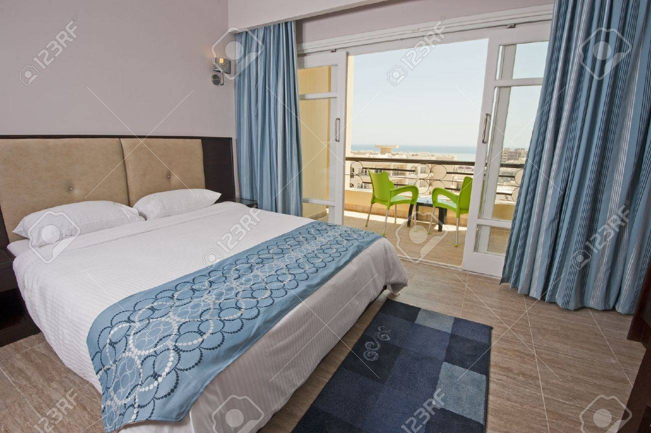 Luxury Hotel Bedroom With A Tropical Sea View Stock Photo Picture