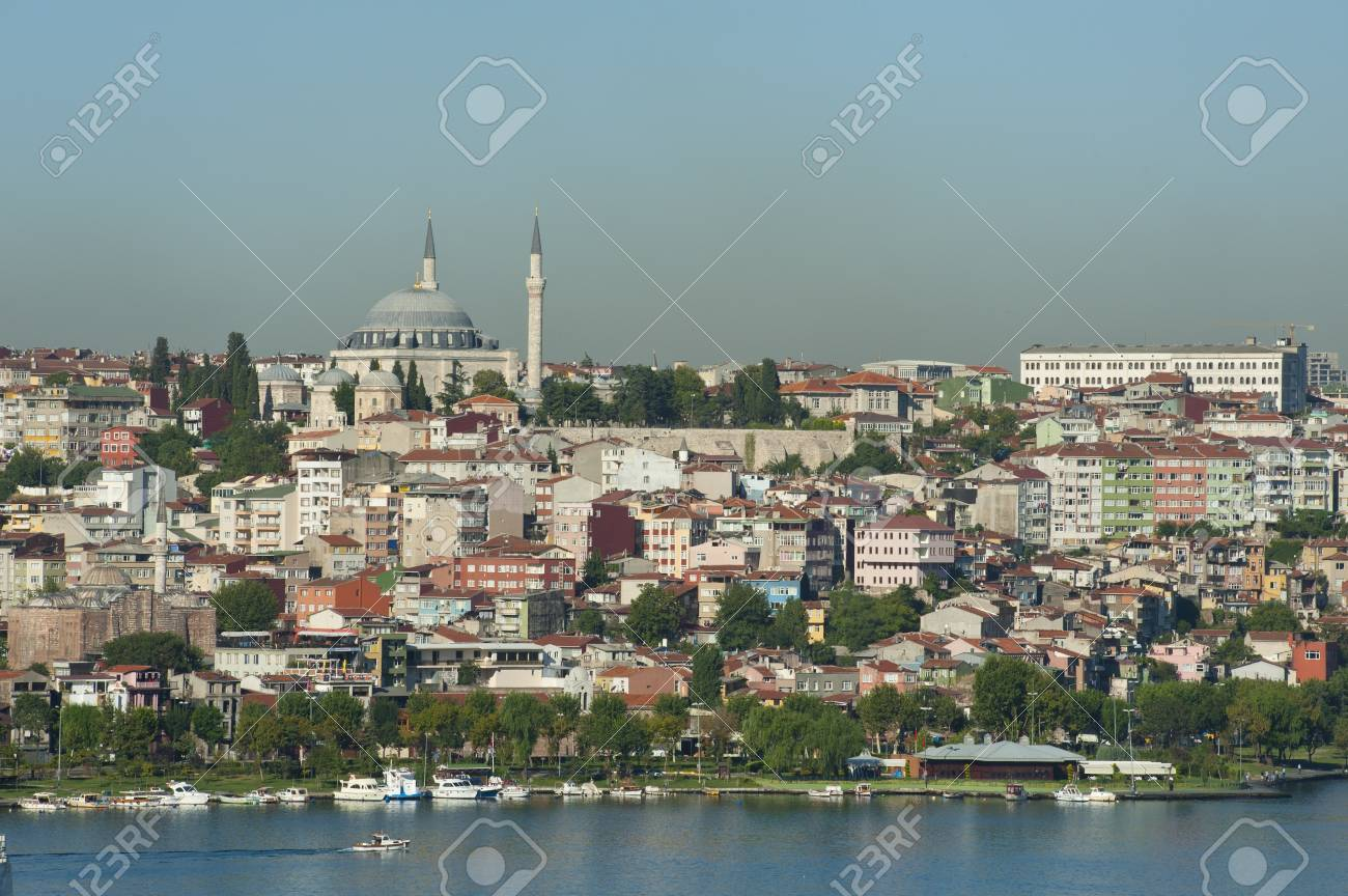 Cityscape of a residential area of a large city with a river Stock Photo - 15110098