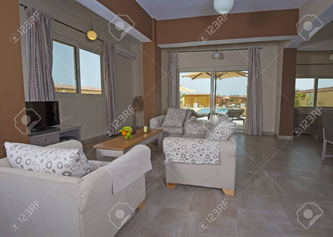 Interior design of luxury show home apartment with swimming pool view Stock Photo - 19159788
