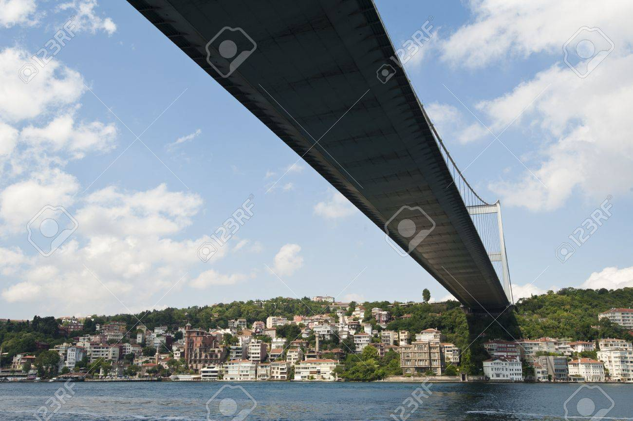 Large suspension road bridge over a river against a blue sky background with residences underneath Stock Photo - 23013077