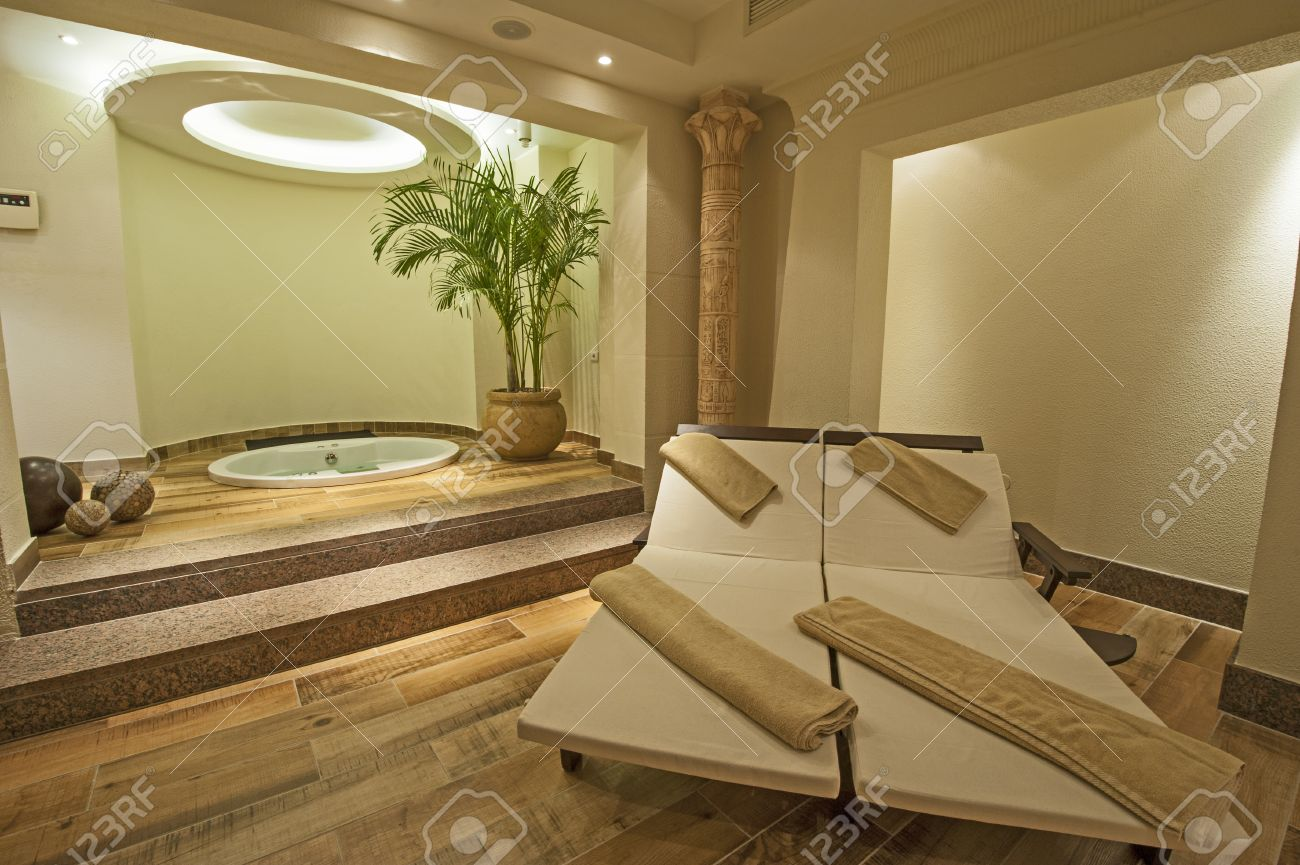Beds And Jacuzzi In A Private VIP Area Of Luxury Health Spa Stock ...