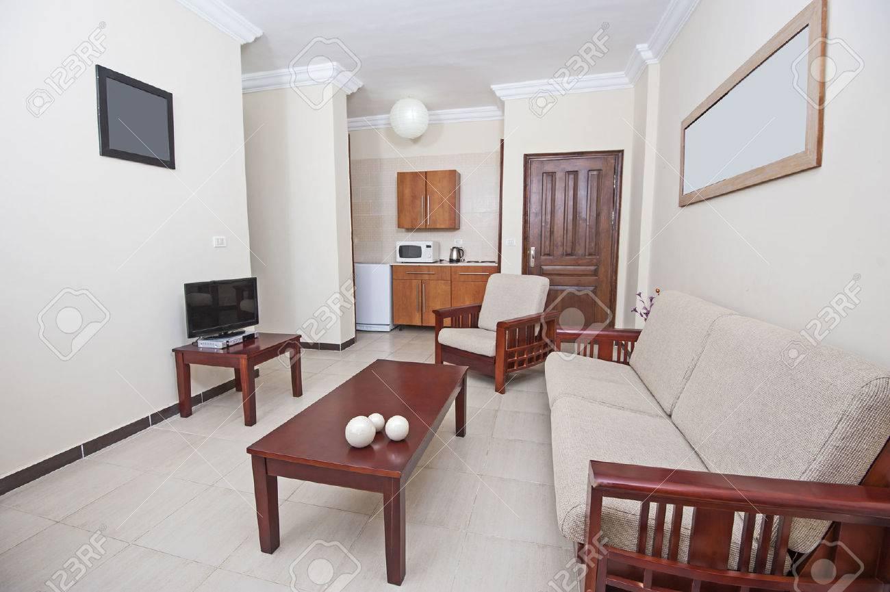 interior of show home living room showing interior design stock