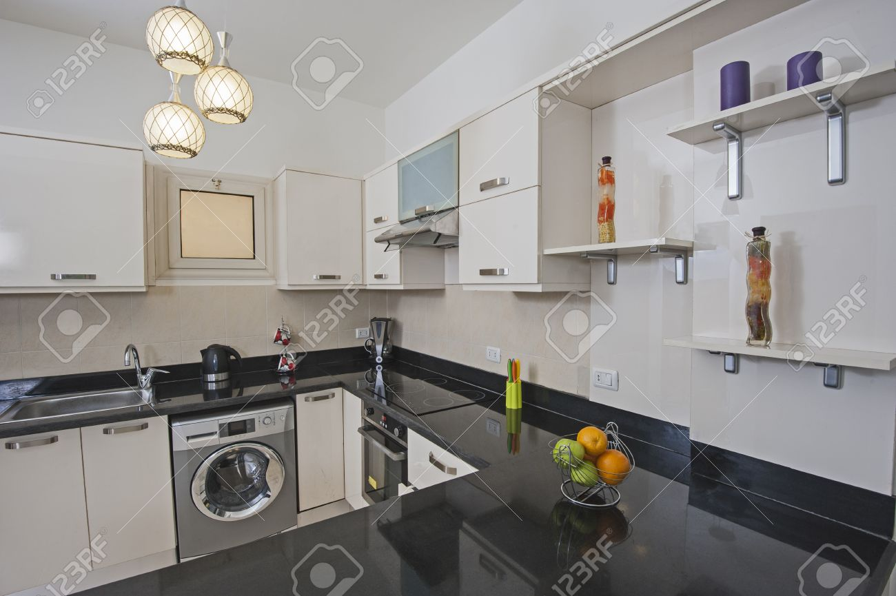 American Style Kitchen Area Of Luxury Apartment Showing Interior Design Stock Photo
