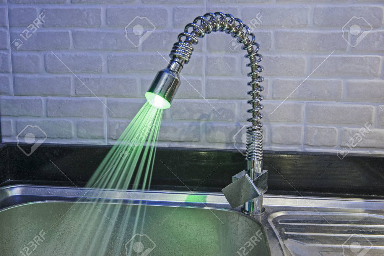 Ornate Illuminated Luxury Tap Faucet With Green Light And Water - Kitchen water faucet