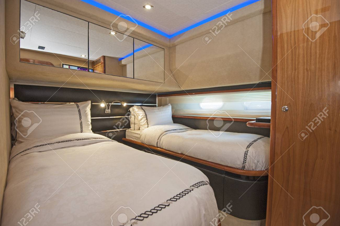 Twin Beds In Cabin Of A Luxury Private Motor Yacht Stock Photo Picture And Royalty Free Image Image 50379784