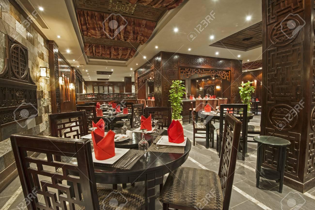 interior design of a luxury hotel asian restaurant dining area