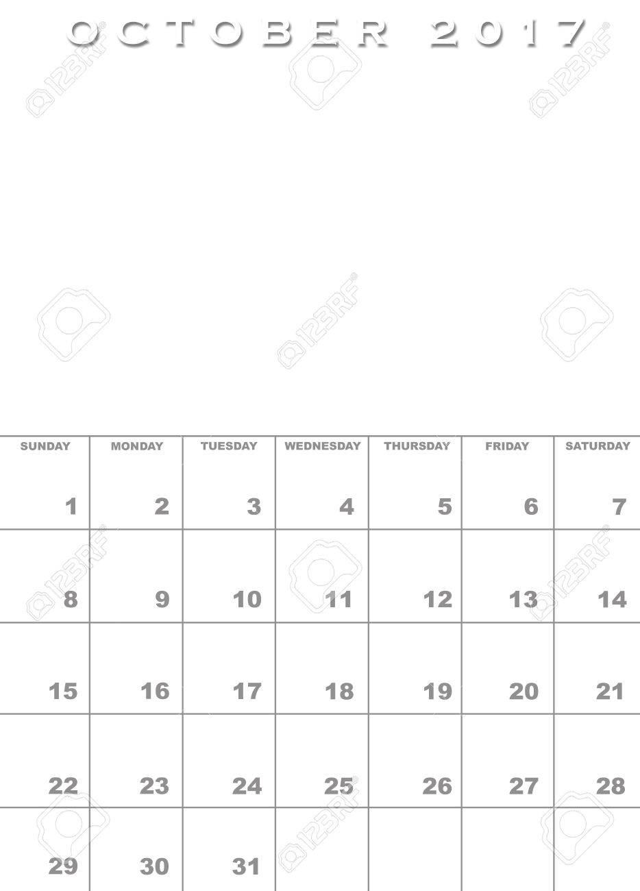 Monat Von Oktober 2017 Kalendervorlage Hintergrund Mit Platz Für ...