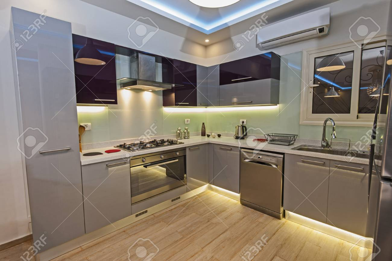 Interior design decor showing modern kitchen and appliances in..