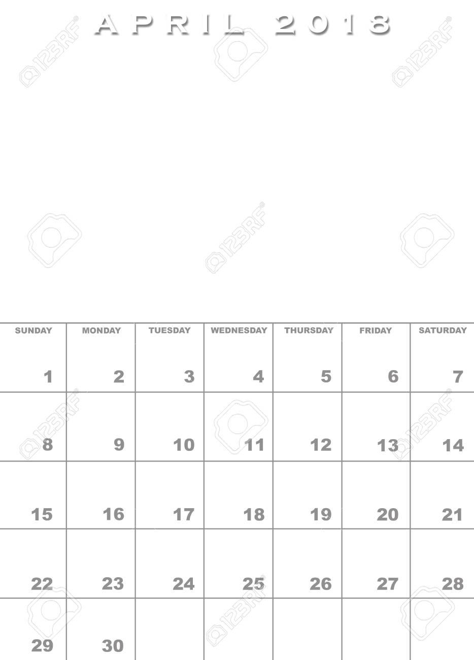Monat Des Monats 2018 Kalendervorlage Mit Platz Für Bilder ...