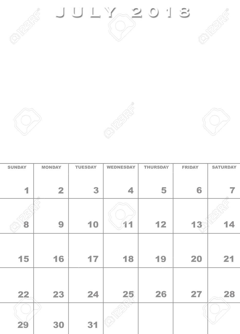 Monat Des Monats 2018 Kalendervorlage Mit Raum Für Bilder ...