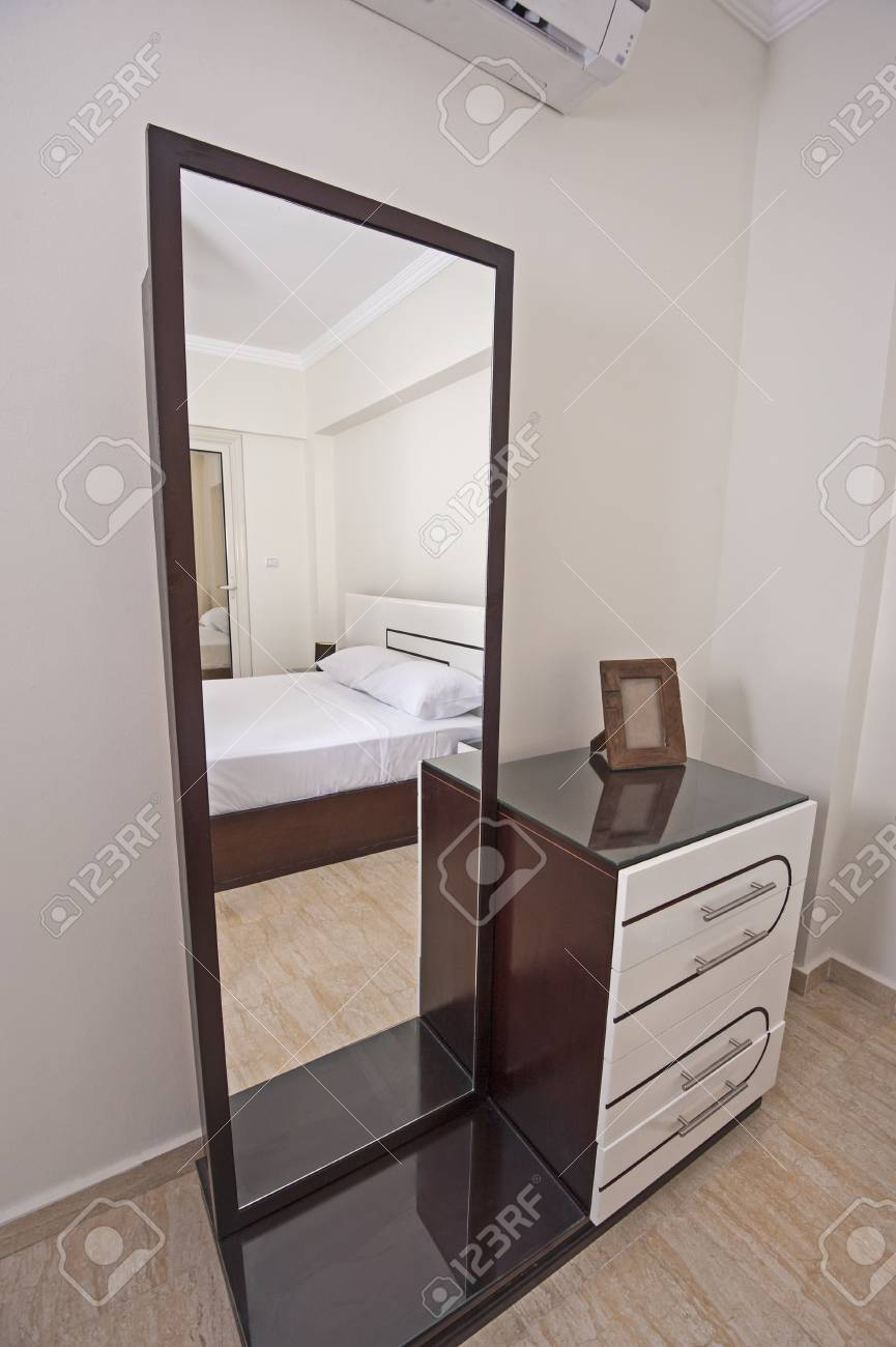 Dressing Table With Mirror Interior Design Decor In Luxury Apartment Bedroom Stock Photo 78531530