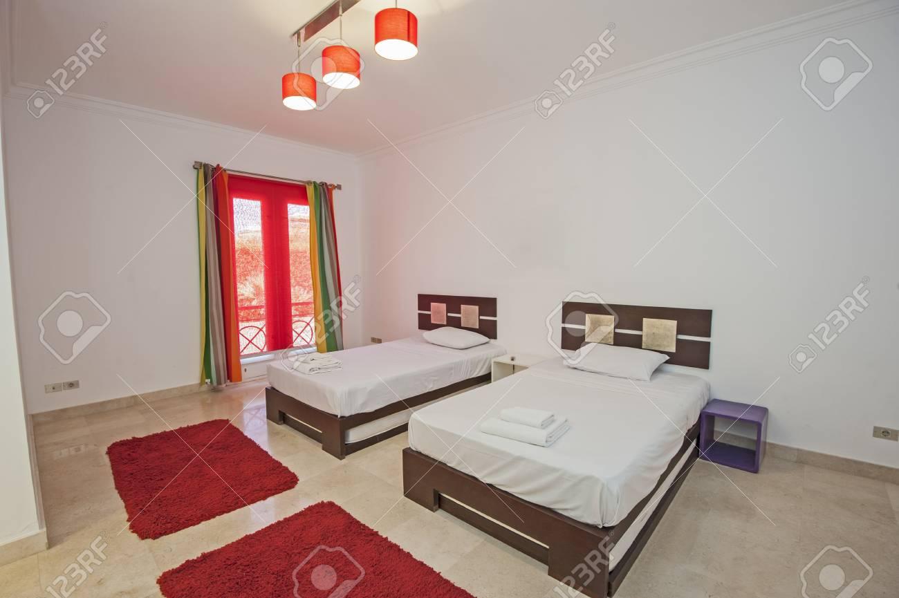 interior design decor furnishing of luxury show home bedroom stock
