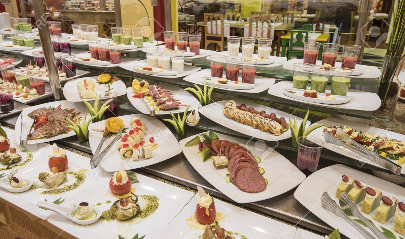 selection display of a la carte cold meat salad food at a luxury rh 123rf com cold food buffet equipment cold food buffet menu