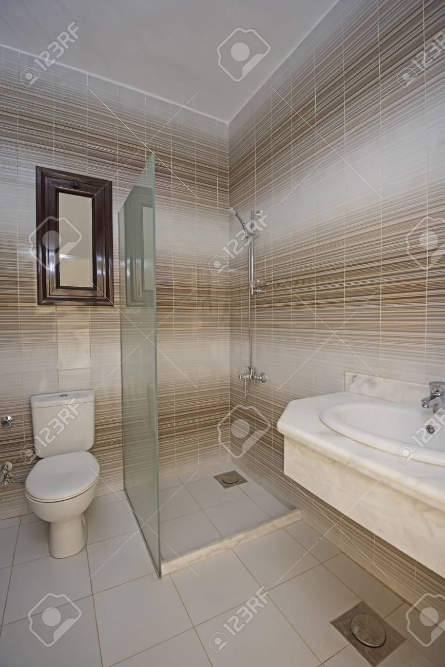 Interior Design Of A Luxury Show Home Bathroom With Shower Cubicle ...