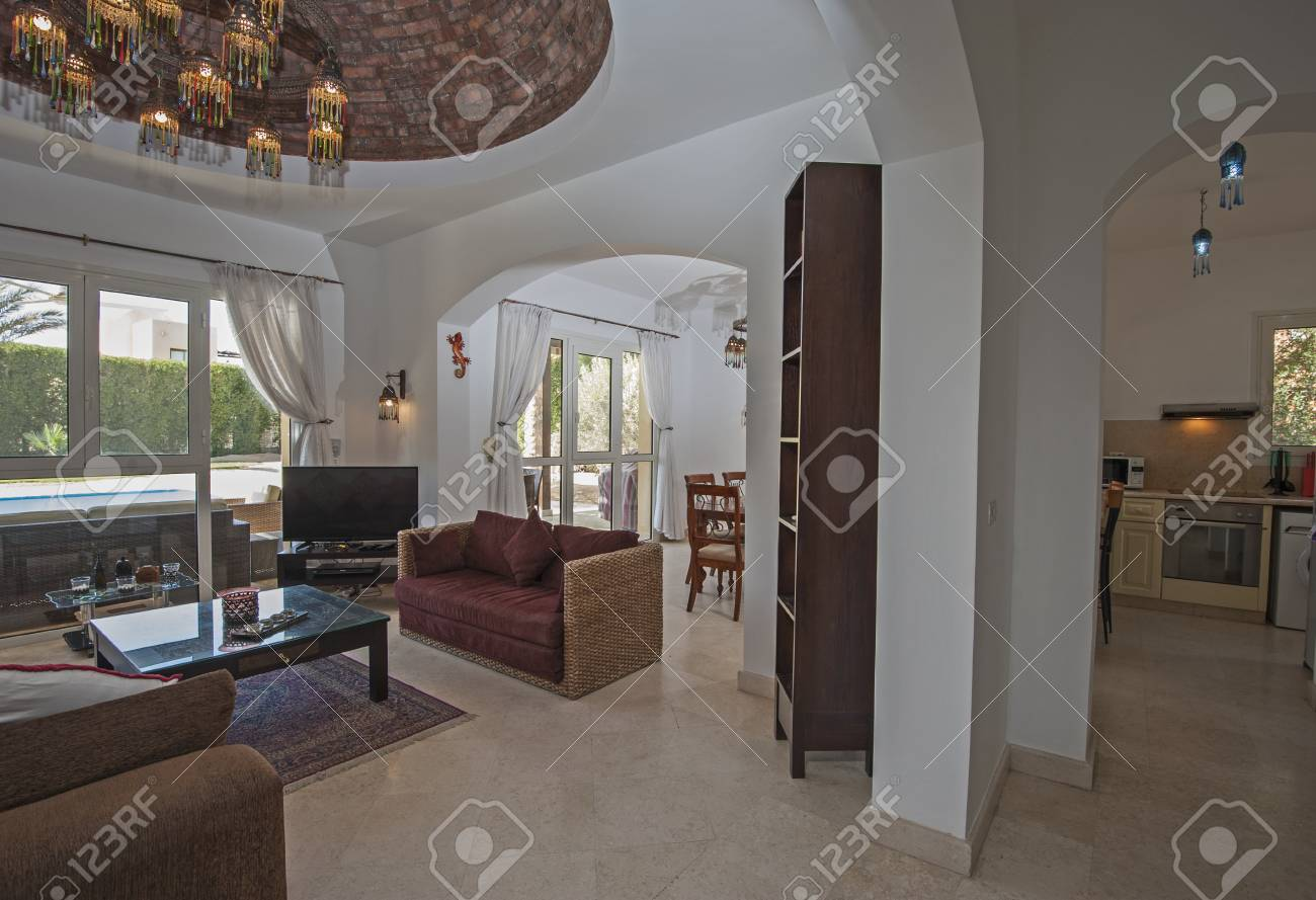 Living room lounge in luxury villa show home showing interior..