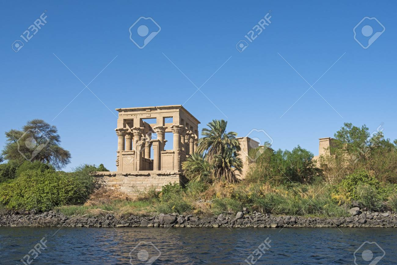 Wall and columns on a kiosk at the ancient egyptian Temple of