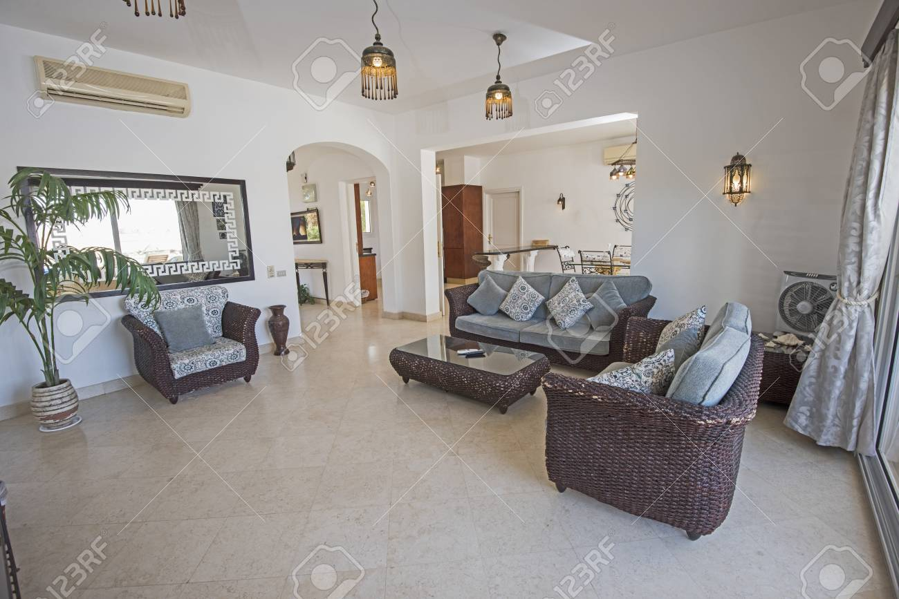 Living Room Lounge In Luxury Holiday Villa Show Home Showing.. Stock ...