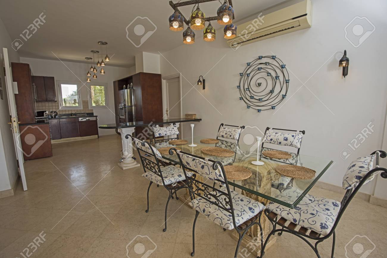 Kitchen and dining area in luxury holiday villa show home showing..