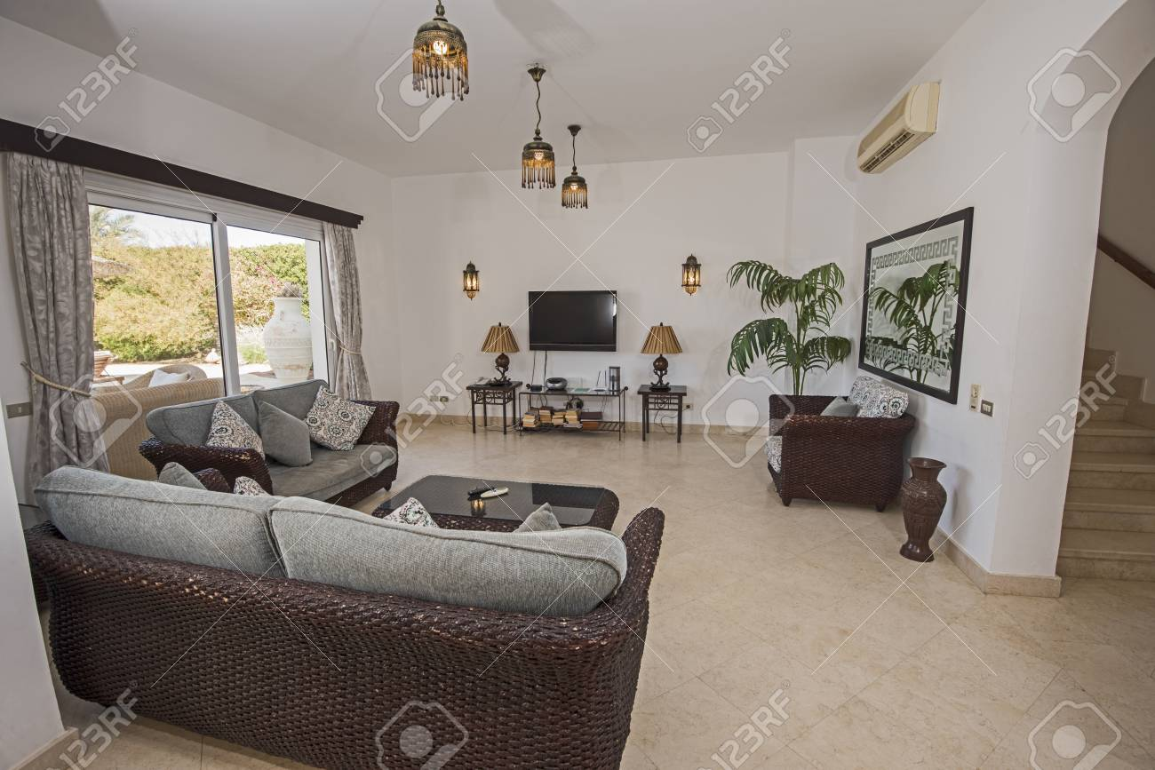 Living Room Lounge In Luxury Holiday Villa Show Home Showing ...