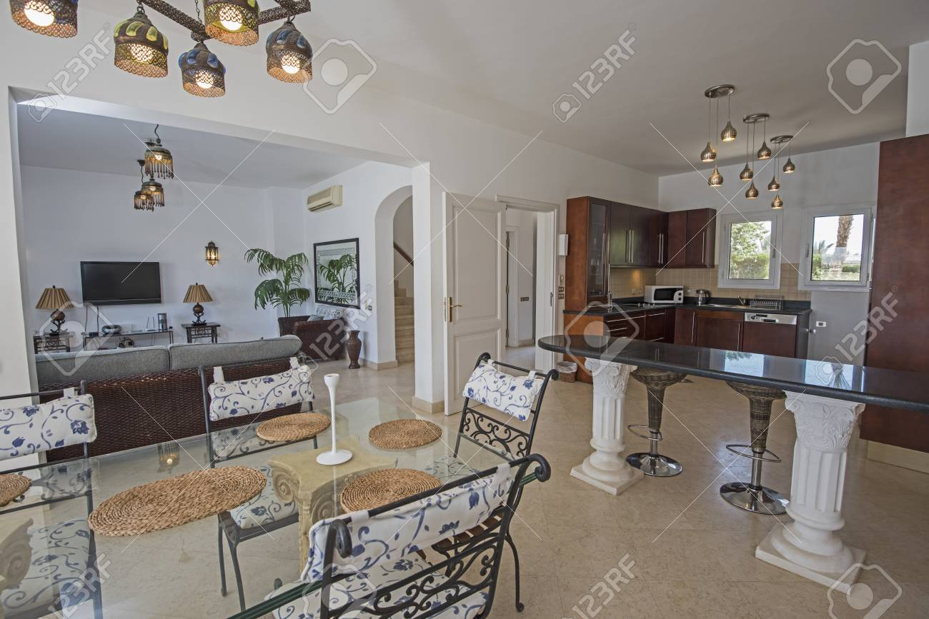 Kitchen And Dining Area In Luxury Holiday Villa Show Home Showing ...