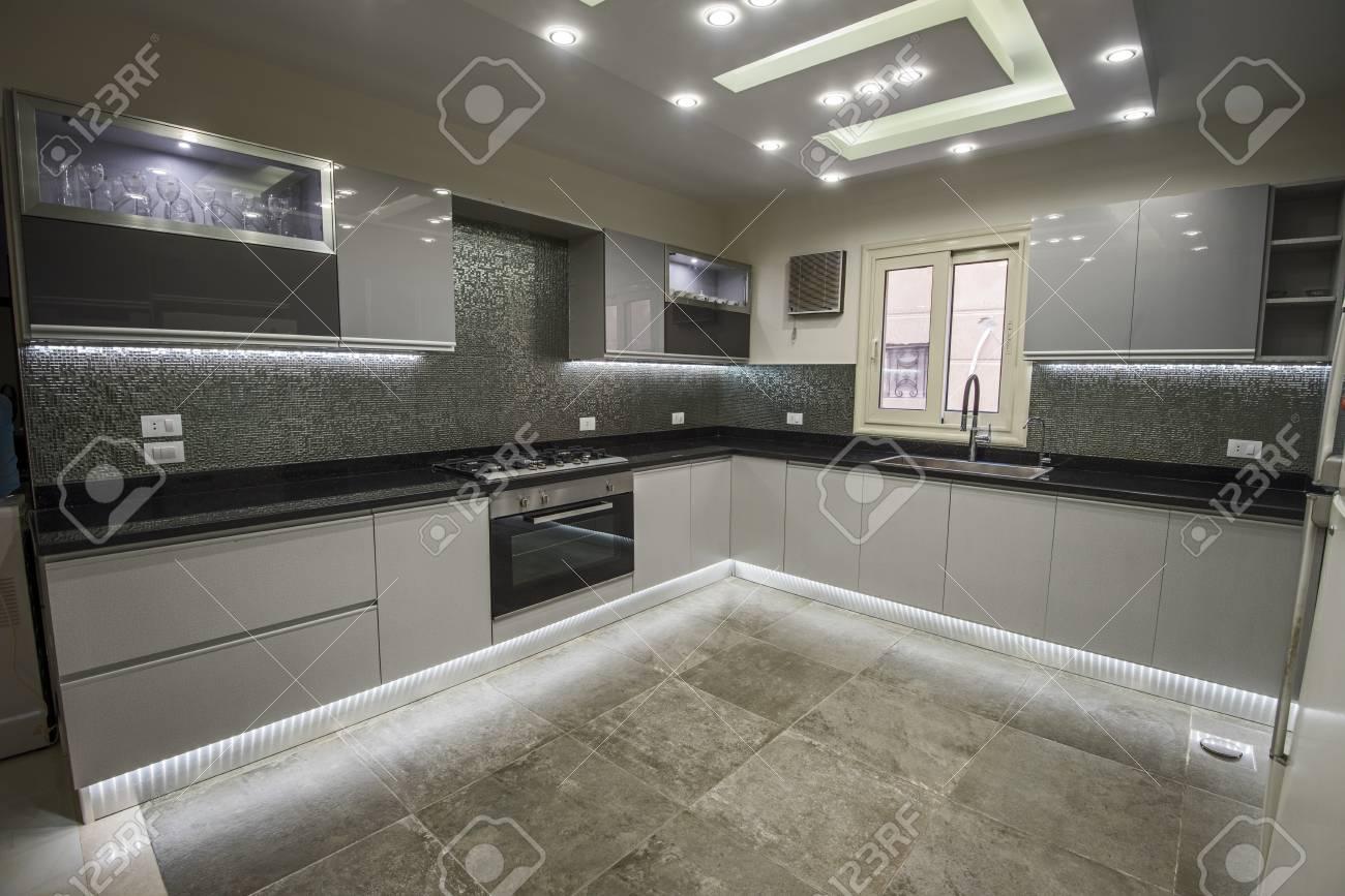 Interior design decor showing modern kitchen and appliances in..