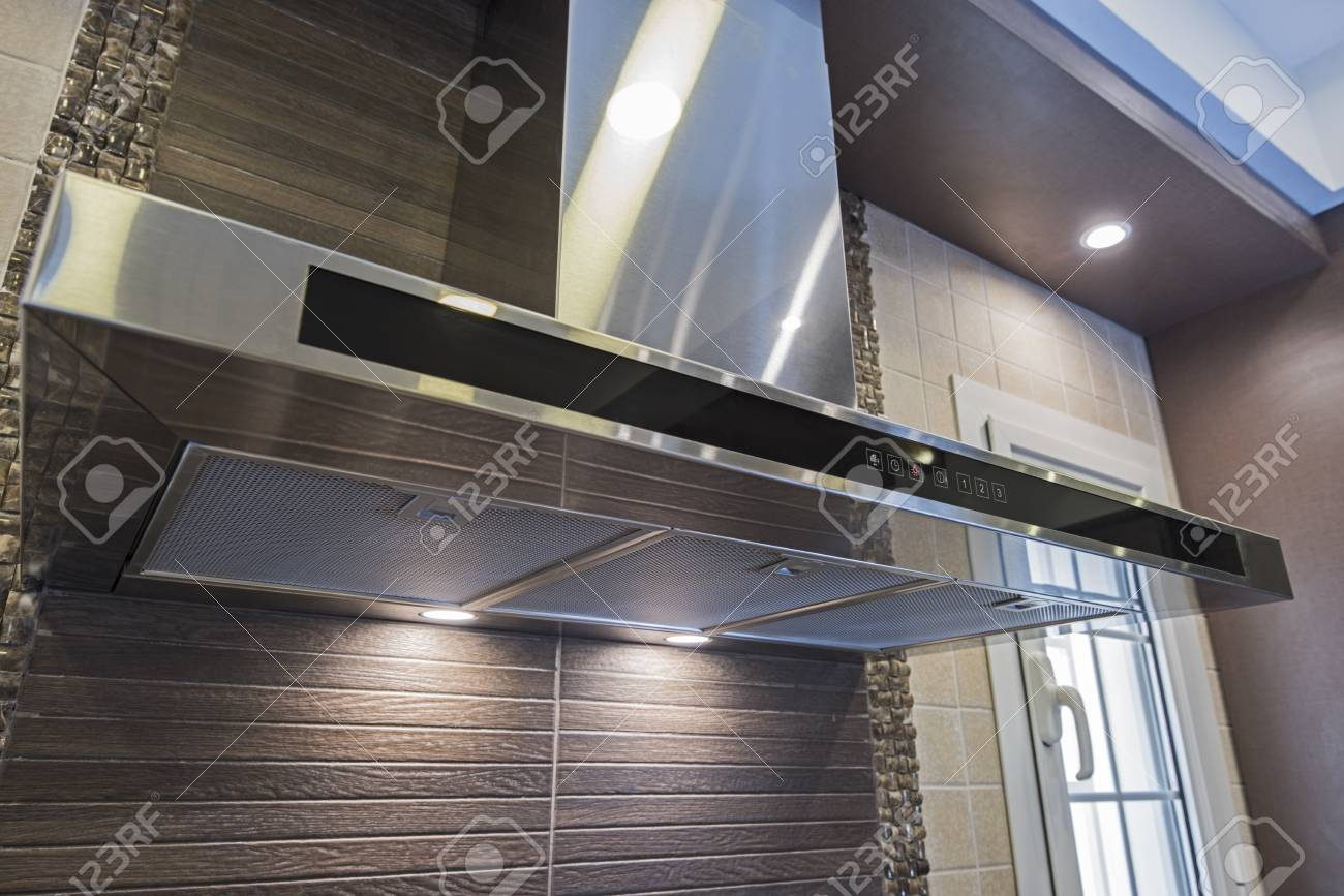 Image of: Interior Design Decor Of Modern Kitchen Showing Cooker Hood Extractor Stock Photo Picture And Royalty Free Image Image 124972357