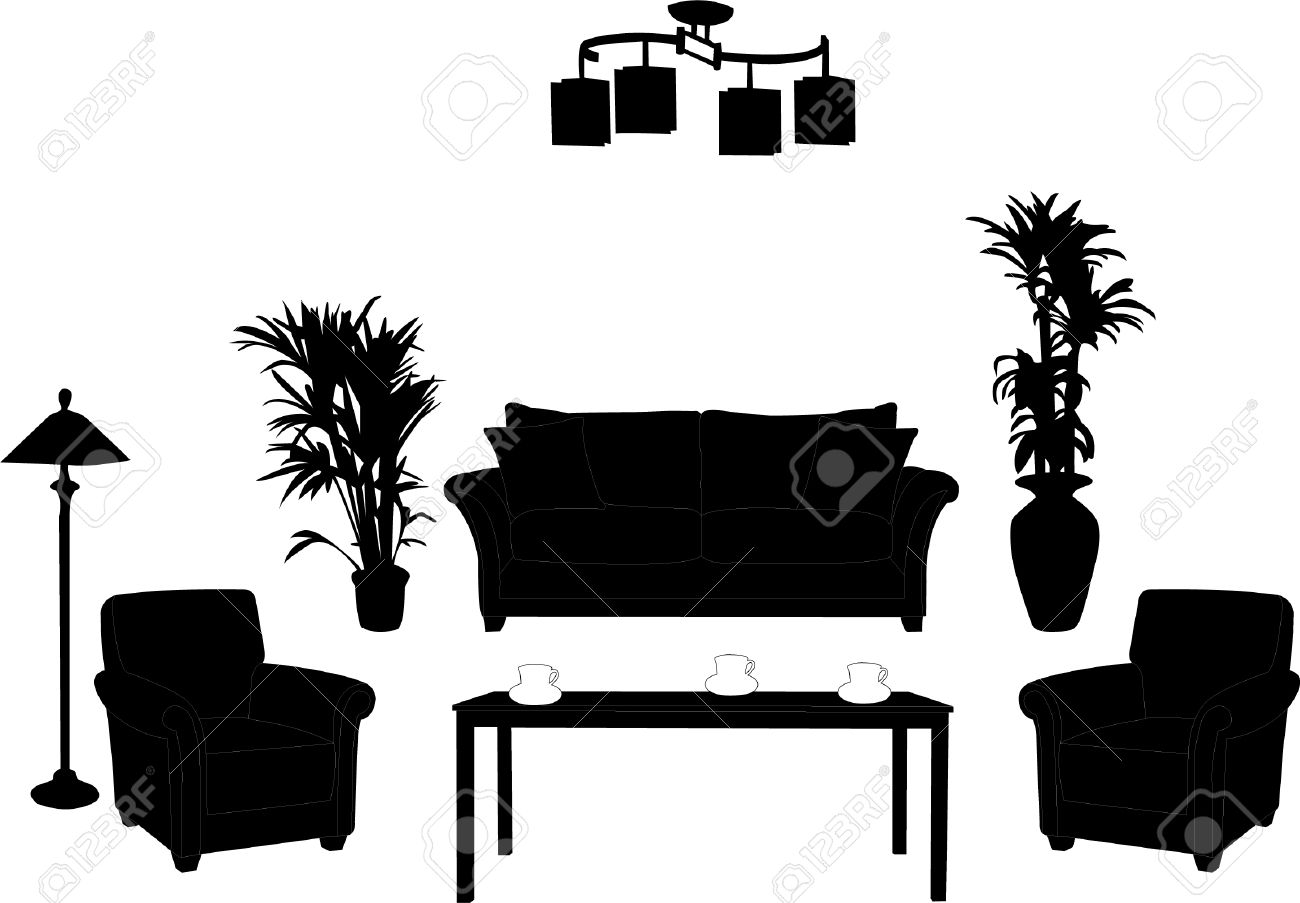 Living Room Design Silhouette Stock Vector