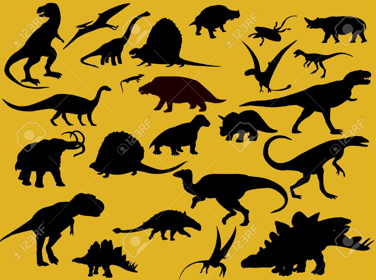collection of dinosaur silhouette Stock Vector - 8094967
