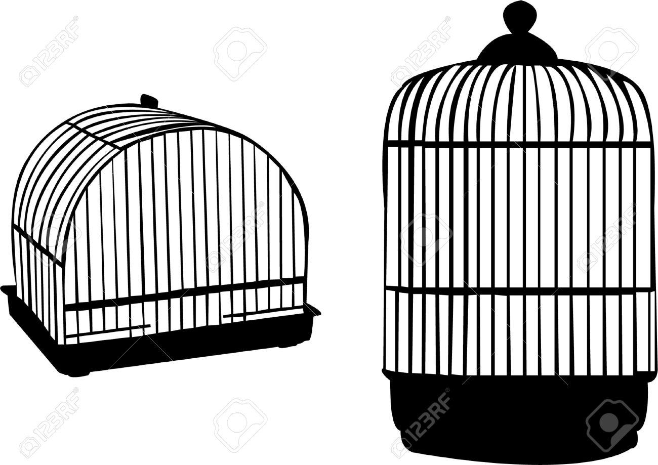 Open Birdcage Silhouette Vector - birdcage silhouette