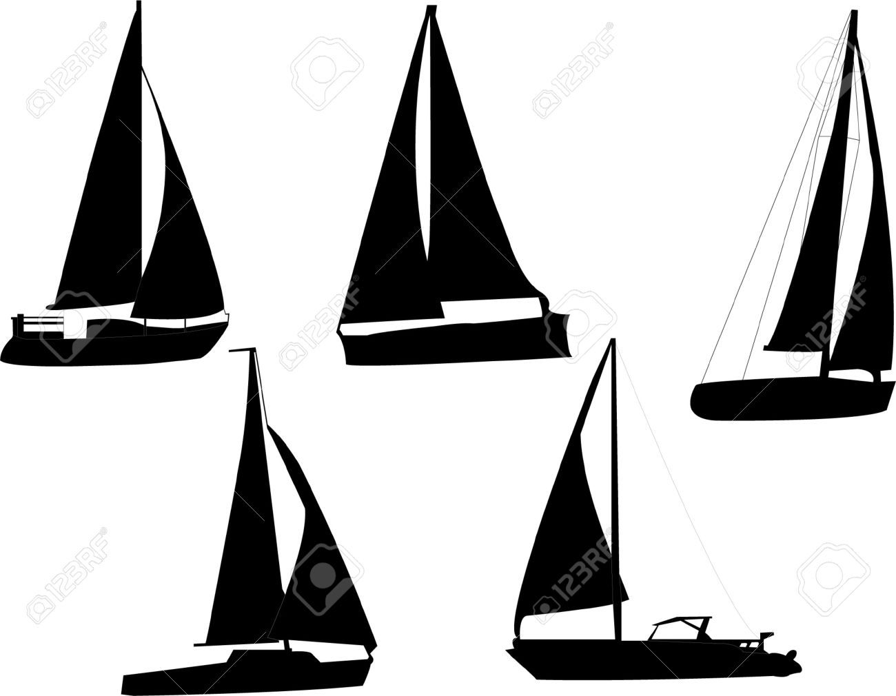 sail boats silhouette Stock Vector - 8094965