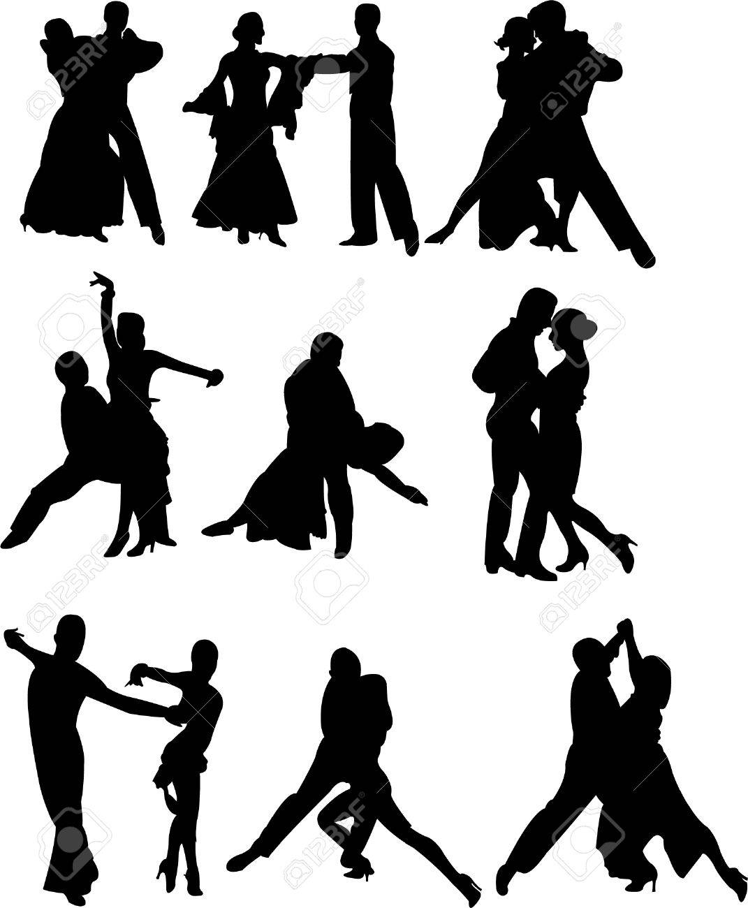 collection of dancing people silhouettes Stock Vector - 8738214