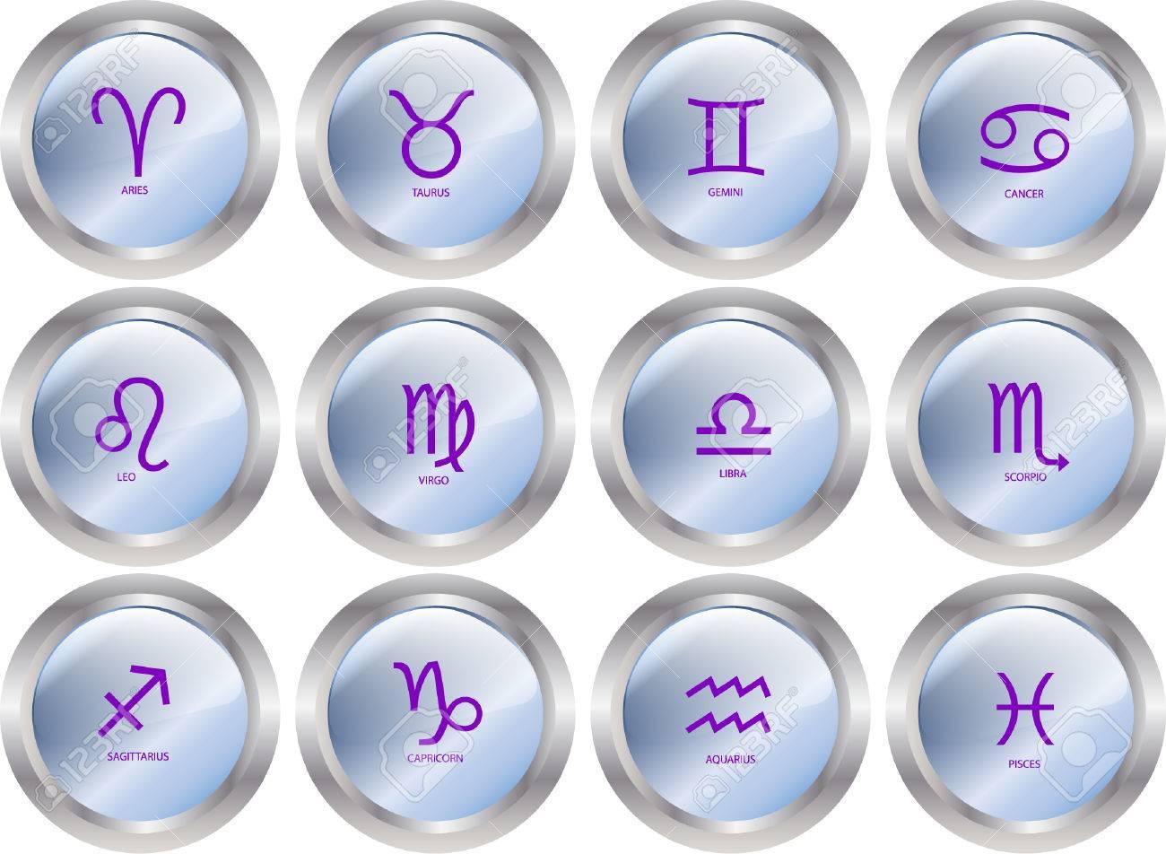 zodiac button collection Stock Vector - 8738220