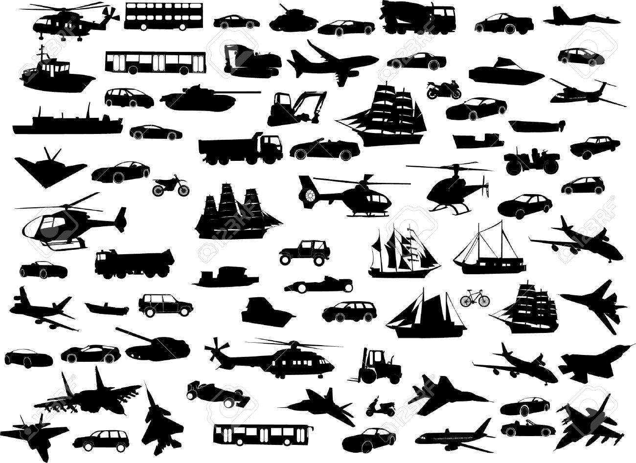 big collection of transportation silhouette - vector Stock Vector - 8971659