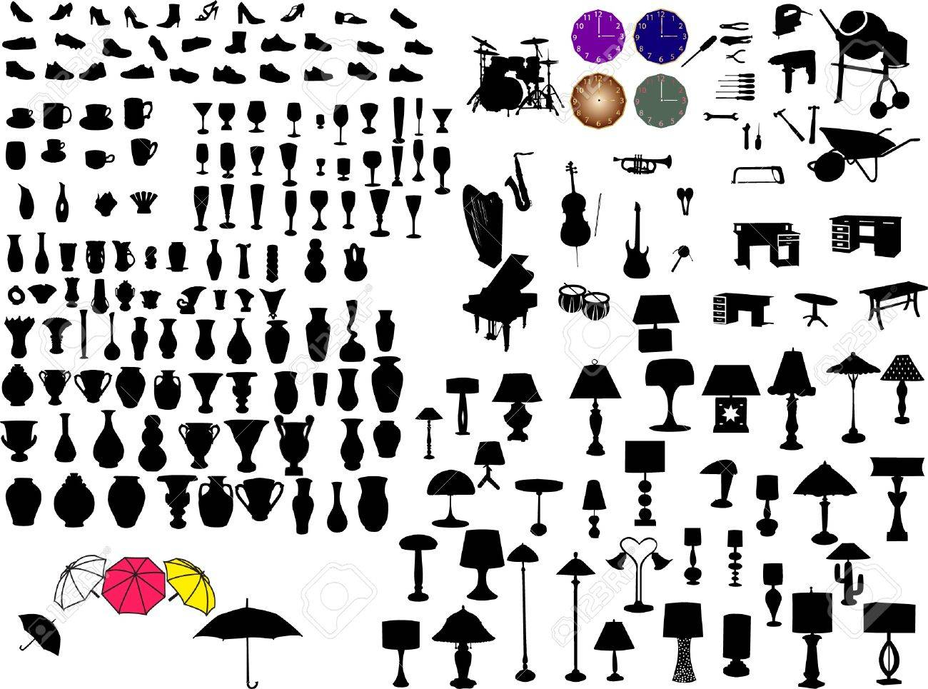 Antique chair silhouette - Vector Big Collection Of Objects Silhouette Vector