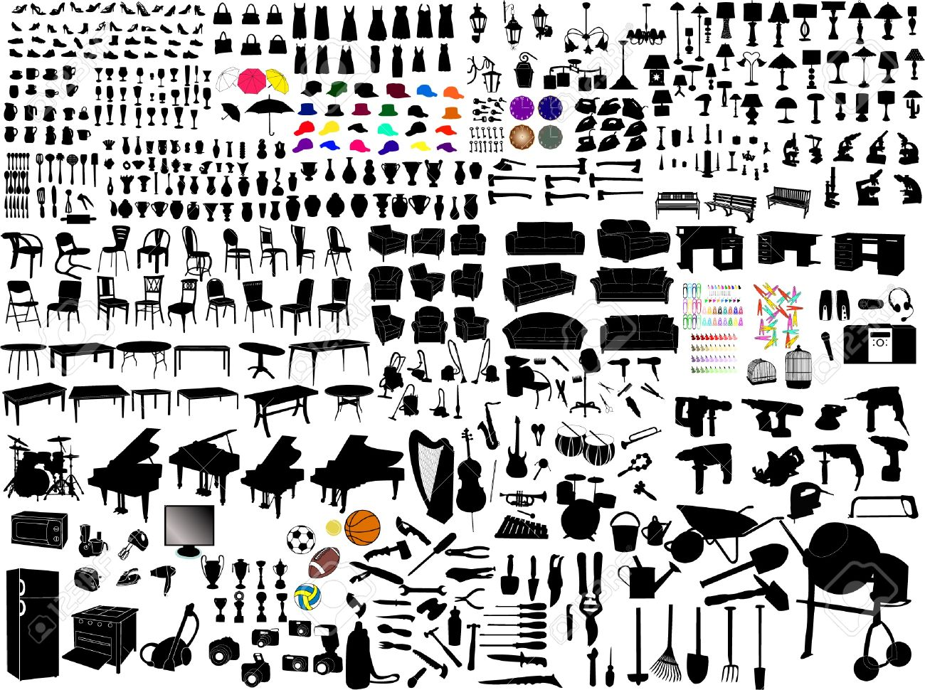 Collection Of Household Items Silhouettes Royalty Free Cliparts ...