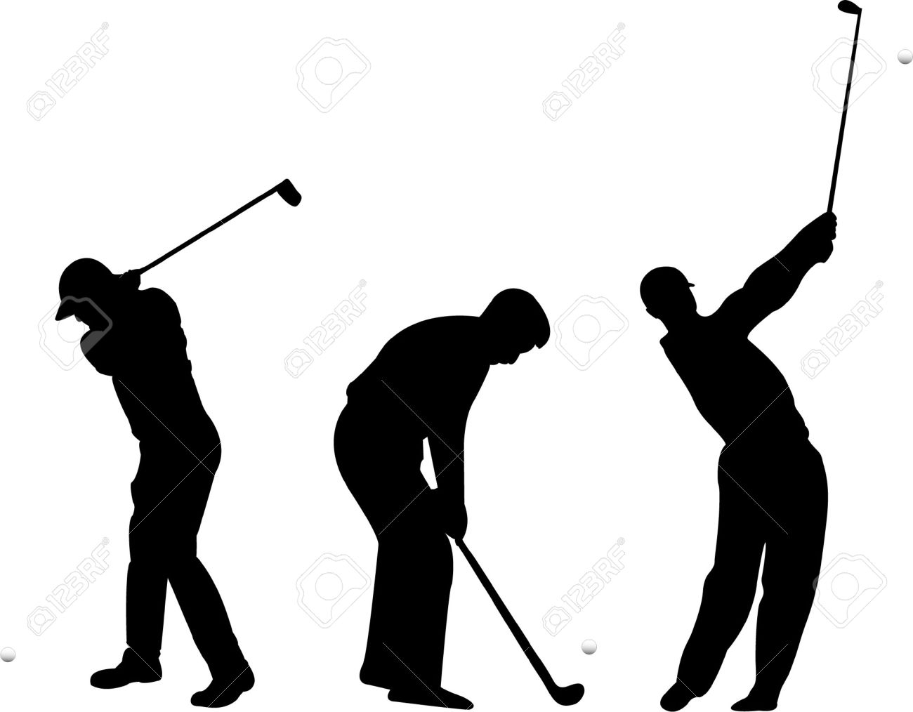 Golf Silhouettes Vector Royalty Free Cliparts Vectors And Stock