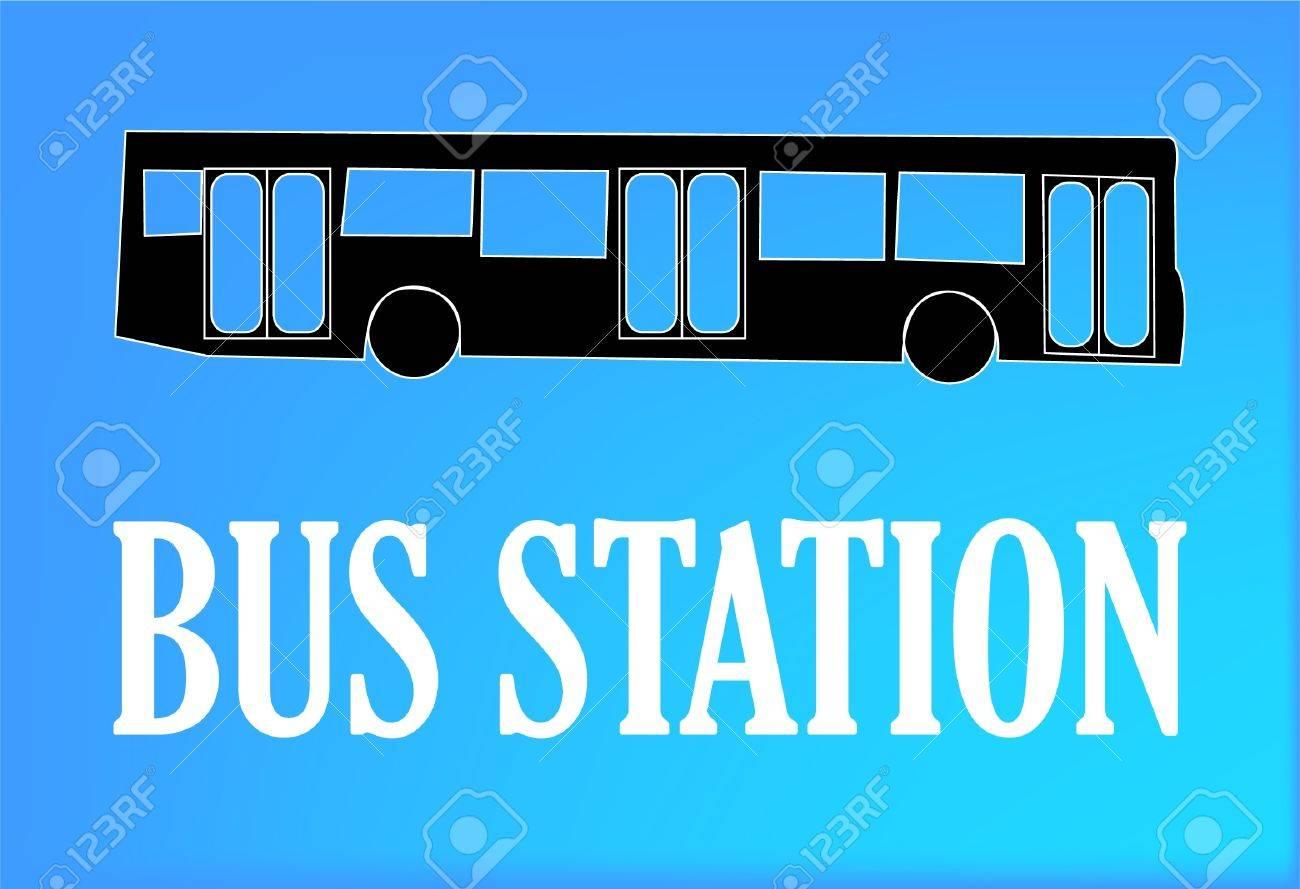 バスの駅の看板のイラスト ロイヤリティフリークリップアート、ベクター