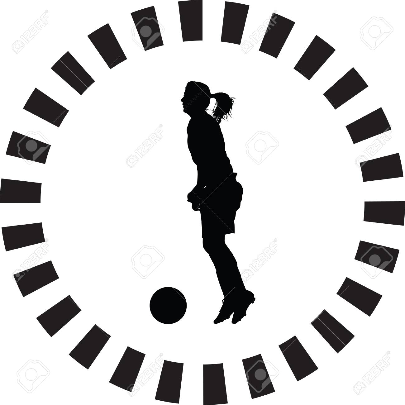 Soccer Women Silhouette. Girl Player Vector Royalty Free Cliparts ... 7df060fbd7